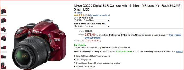 NIKON 3200 DIGITAL CAMERA SLR.